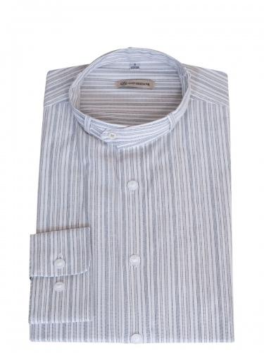 Gottseidank Trachtenhemd Lenz, grau gestreift, Stehkragen, Slim