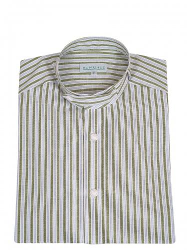 Waldorff Trachtenhemd, Pfoad, grün-blau gestreift, Stehkragen