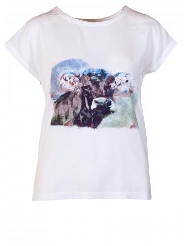 Hammerschmid T-Shirtbluse Neckar, weiß mit Kuhmotiv
