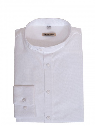 Gottseidank Trachtenhemd Lenz, weiß, in sich strukturiert, Stehkragen, Wäscheknöpfe
