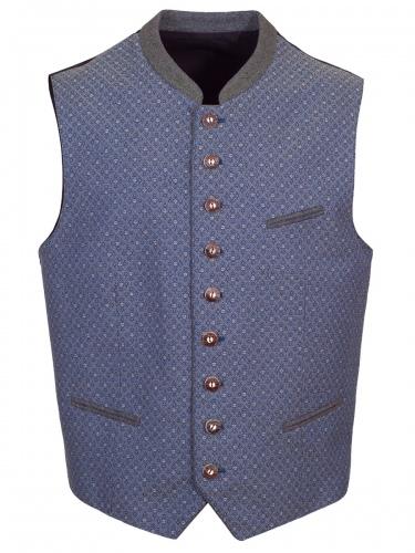 Herrenweste Schönbach blau-grau, grün schimmernd, schwarzer Rücken