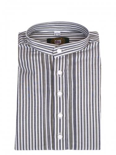 Orbis Trachtenhemd, Pfoad, khaki-blau, gestreift, Stehkragen