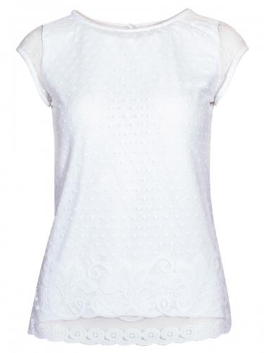 Berwin & Wolff T-Shirt, weiß, Vorderseite aus Spitze, kurze Ärmel