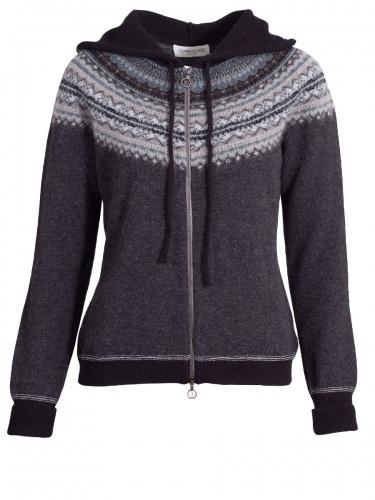 Eribè Knitwear Alpin Hoody, Cardigan, Strickjacke, colliery, blau-grau Kapuze