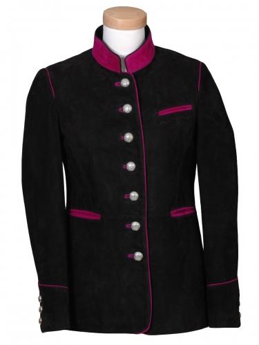 Lodenfrey Lederjacke Kochel elegant schwarz mit pink