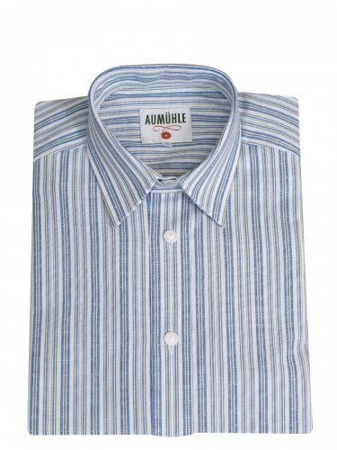 Waldorff Trachtenhemd, Pfoad, blau-grün-weiß gestreift, Liegekragen