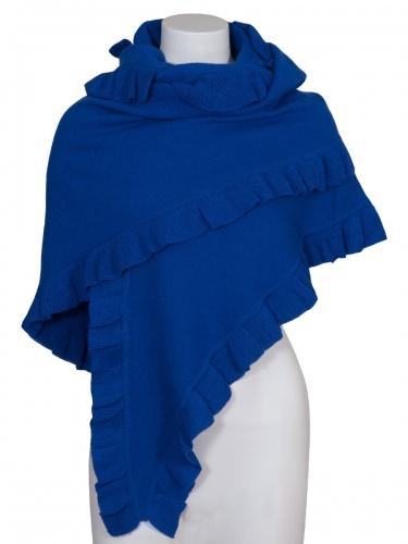 Moser Woll-Poncho Corona, royal-blau