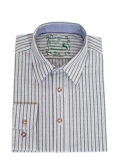 Hammerschmid Trachtenhemd grün-weiß gestreift, Liegekragen