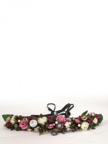 Anno Domini Design Blumengürtel rose mit Silbertalern