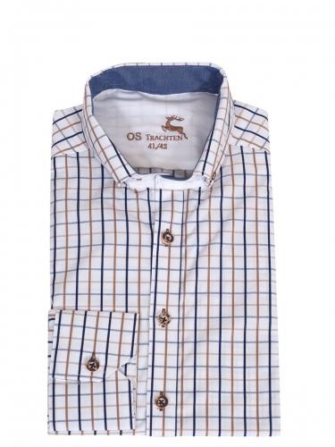 Orbis Herrenhemd, blau-grau-braun kariert, Hirschhornknöpfe, durchgeknöpft