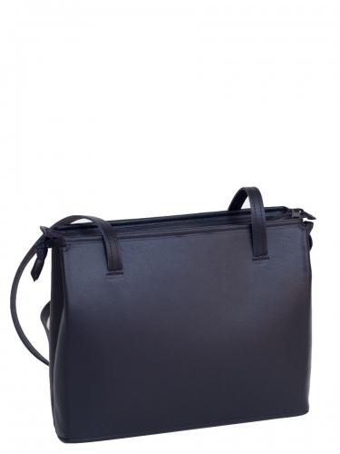 Eigner Hänkeltasche, echt Leder, schwarz, glatt, schwarze Einfassung