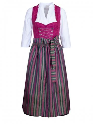 Wenger Frieda Dirndlkleid, pink-grün, schwarzer Rock, 80cm