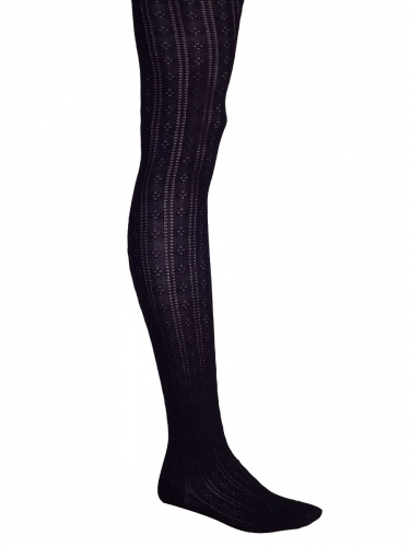 Lusana Damen-Strumpfhose schwarz, Blümchen-Lochmuster