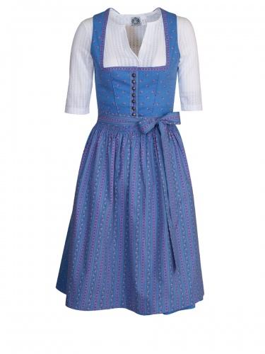 Wenger Zelda Dirndl, hellblau, pinke Blumen, 65cm