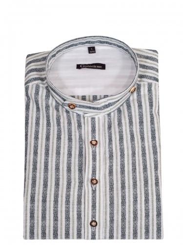 Orbis Herrenhemd, trachtengrün-weiß gestreift, Stehkragen, Body Fit