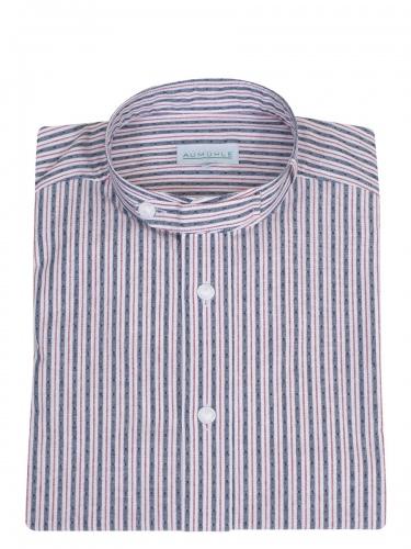 Waldorff Trachtenhemd, Pfoad, blau-rot-weiß gestreift, Stehkragen
