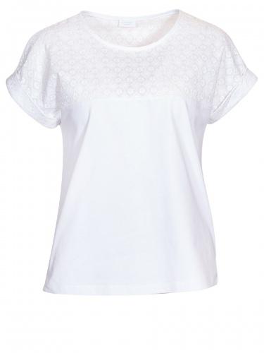 Moser T-Shirt Lainach, weiß, Schulterbereich bestickt, umgenähte Arme
