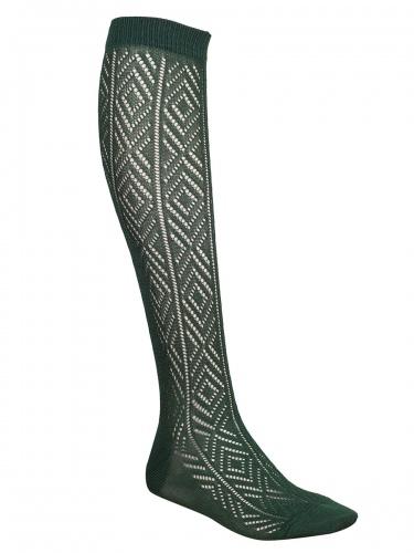 Steiner Trachten-Kniestrumpf tannengrün, handgekettelt, Lochmuster