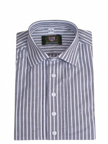 Orbis Herrenhemd, beige-blau-weiß gestreift, Pfoad, Liegekragen, SlimFit