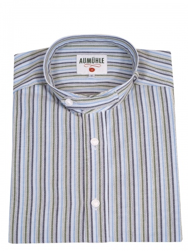 Waldorff Trachtenhemd, Pfoad, hellblau-dunkelblau-grün-weiß gestreift, Stehkragen