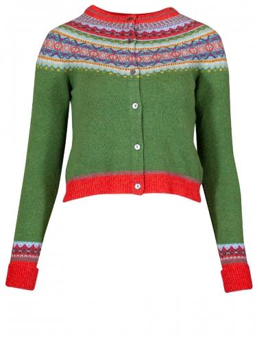 Eribè Knitwear Alpine Short Cardigan, Strickjacke, paradise, grün-bunt
