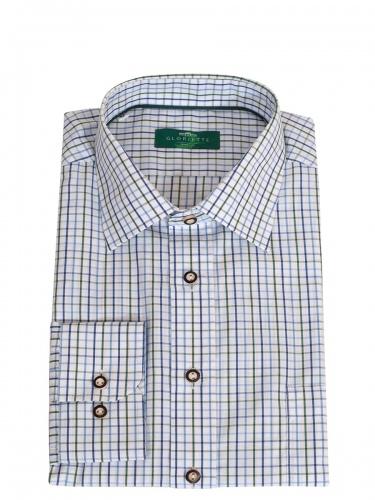 Gloriette Herrenhemd, dunkelblau-hellblau-grün, Karomuster, Liegekragen, Brusttasche