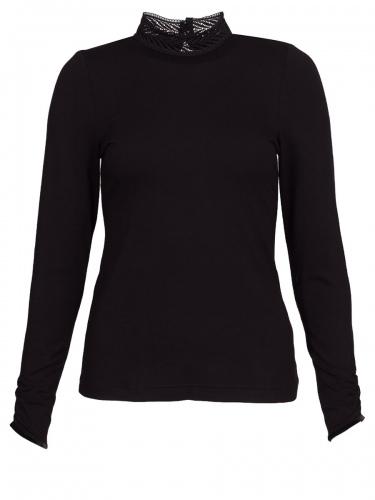 Wenger Jauering Langarmshirt, schwarz, hochgeschlossen
