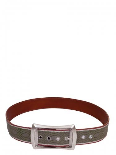 hausg'macht Damengürtel, Borte mit Handdruck, hellgrün-rot, Silberschließe