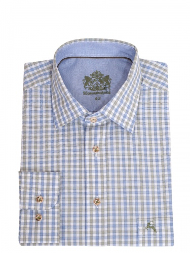 Hammerschmid Trachtenhemd blau-grün kariert, Liegekragen, in sich mit Rauten gemustert