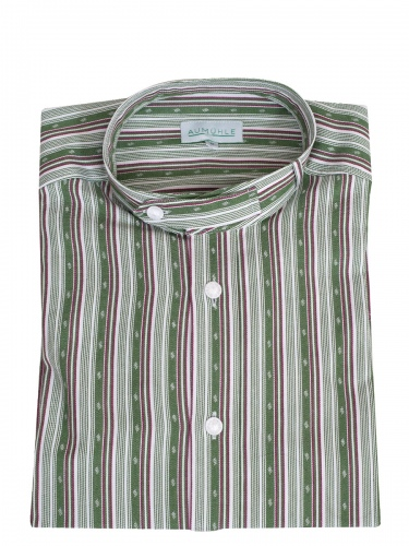 Waldorff Trachtenhemd, Pfoad, apfelgrün-rot gestreift, Stehkragen