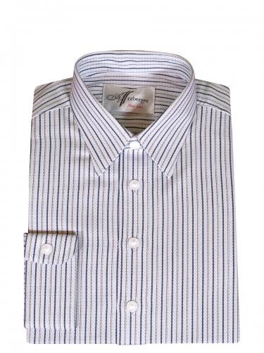 Arzberger Öko-Baumwollhemd, weiß-blau, gestreift, Pfoad, hochwertig
