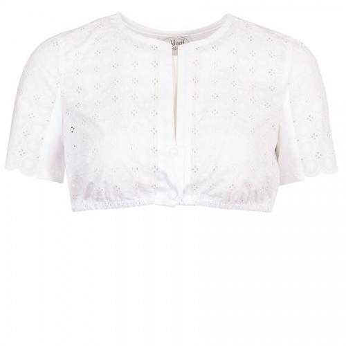 Waldorff Dirndlbluse weiß, Kurzarm, Vorderseite und Arme aus Spitze, Shirtstoff