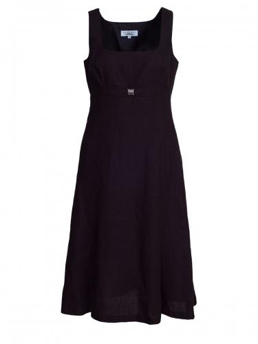 Hiebaum Trägerkleid, schwarz, Leinenkleid