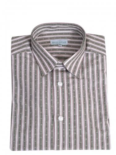Waldorff Trachtenhemd, Pfoad, grün-beige gestreift, Liegekragen, Wäscheknöpfe