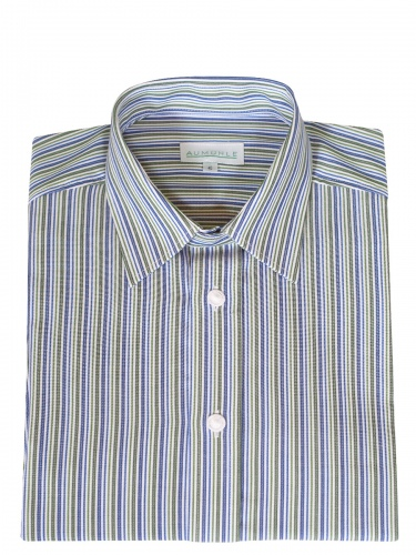 Waldorff Trachtenhemd, Pfoad, royalblau-grün gestreift, Liegekragen
