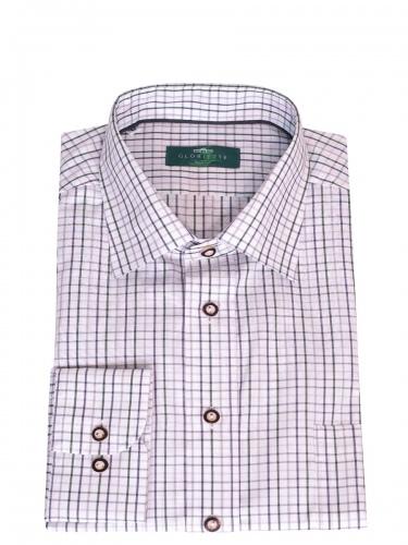 Gloriette Herrenhemd, grau-grün-weiß, Karomuster, Liegekragen, Brusttasche
